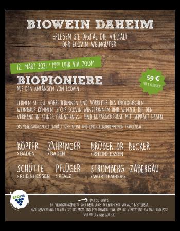"""""""Biopioniere"""" Online-Weinprobe am 12.03.2021"""
